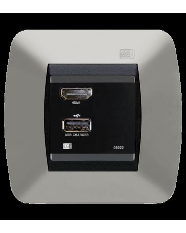 Cargador USB e interfaz HDMI. Negro
