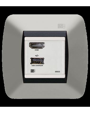 Cargador USB e interfaz HDMI. Blanco