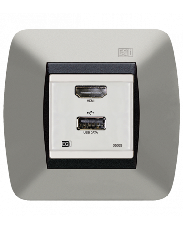 Módulo de pared con conector hembra-hembra para datos USB y HDMI